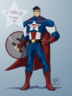 Super Mash-Ups Of Marvel And DC Comic Heroes: Superman and Captain America Marvel Dc, Marvel And Dc Superheroes, Comic Book Characters, Marvel Characters, Comic Character, Comic Books Art, Book Art, Comic Art, Character Sketches