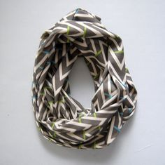Grey Striped Chevron Organic Cotton Infinity Scarf by Cristin Rae
