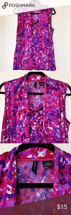 """VGUC New Directions L Floral Sleeveless Top VGUC New Directions floral drape front sleeveless top, size L 95% Polyester/ 5% Spandex easy care stretch fabric Forgiving style can be dressed up or down Modern floral print in pink, purple and white Shoulder to shoulder 15.5"""" Armpit to armpit 20.5"""" Shoulder to hem 26"""" Measurements approximate new directions Tops Tank Tops"""