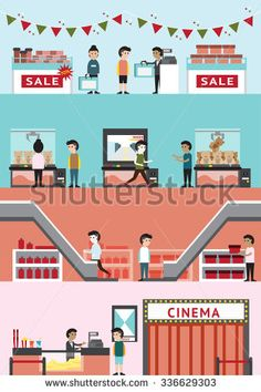 Cartoon department store mall building interior and layout for cinema, seasonal sale discount in Christmas, game center, and gift shop with customer and employee banner background, create by vector