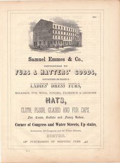 Original 1853 Full Page Illustrated Ad for Samuel Emmes & Co. Furs & Hatters