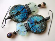 In Perfect Darkness - ultraviolet indigo blue primitive raku disc, ancient crusty Roman glass, ivory lampwork glass, & ox copper earrings by LoveRoot