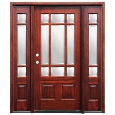 Pacific Entries Craftsman 9 Lite Stained Mahogany Wood Entry Door with 14 in. Sidelites-M39MR413 at The Home Depot