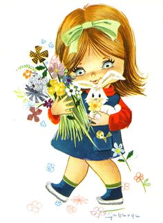 Big Eyed Girl Vintage 70s postcard by Gallarda - I love my Rabbit   Flickr - Photo Sharing!