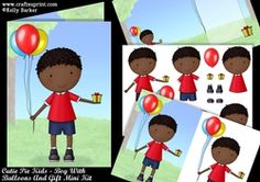 Cutie Pie Kids Boy With Balloons And Gift Mini Kit on Craftsuprint - View Now! A5, Kids Boys, Decoupage, Balloons, Card Making, Children, Mini, How To Make, Cards