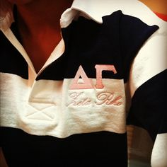 obsessssed with this! I want a rugby shirt for Alpha Gamma Delta! Alpha Omicron Pi, Kappa Alpha Theta, Pi Beta Phi, Alpha Chi Omega, Kappa Delta, Phi Mu, Tri Delta, Sorority Shirts, Rugby Shirts