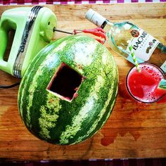 Use a literal watermelon as a drink mixer. 27 Super Easy Ways To Eat More Fruits And Vegetables Watermelon Alcohol, Guacamole, Warm Wine, Leftover Wine, How To Cook Burgers, Drink Mixer, Citronella Candles, Elegant Centerpieces, Party Hacks