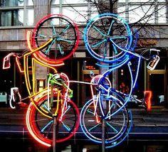 Another art installation for you! Robert Rauschenberg, Art Installation, Street Art, Neon Quotes, Bicycle Art, Cycling Art, Land Art, Art Festival, Neon Lighting