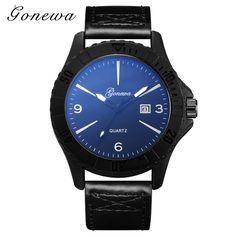 >> Click to Buy << GONEWA 2017 Men Brand Fashion Watches Top Luxury Classic Black Leather Calendar Quartz Watches Man Sport Clock Business Relogio #Affiliate