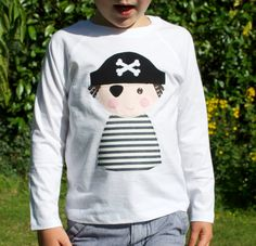 Long sleeve pirate applique t shirt white by cheekycharlieTs