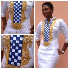 Look at that beautiful embroidered neck detail! S♥ul & Rhapsody xo Odeneho Wear White Polished Cotton Dress/ Embroidery Design. African Print Dresses, African Fashion Dresses, African Dress, Fashion Outfits, Ghanaian Fashion, African Outfits, Mens Fashion, African Prints, Fashion Boots
