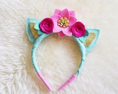 Items similar to Kitty Cat ears felt flower crown headband // mint magenta and cotton candy pink on Etsy Flower Crown Headband, Cat Ears Headband, Unicorn Headband, Kanzashi Flowers, Felt Flowers, Fabric Flowers, Felt Diy, Felt Crafts, Magenta