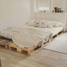 pallet bed - flat bedroom, cheap idea bed industrial bedroom