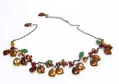 Brown Beaded Necklace Brown Leaf Necklace by CherylParrottJewelry, $93.95