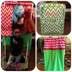 Dance bag with Garment rack: Made using pvc pipes Privacy curtain made with three yards of material