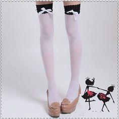 白いレースは、黒の靴下を弓メイドは、学生がGaotong太ももストッキングソックス靴下ロリータレースの靴下lolita