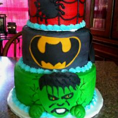 Superhero Birthday Cake...or what about this one @Cheryl Dunlap ?