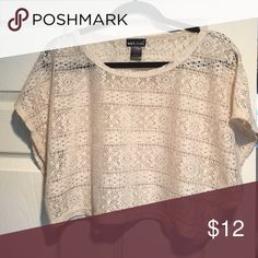 Crop lace top Ivory crop lace tshirt. Never worn. Wet Seal Tops Tees - Short Sleeve