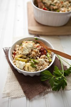 A Mediterranean-style rice bake with marinated artichoke hearts, sun-dried tomato and goat cheese from @Shaina Olmanson | Food for My Family