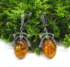 Baltic Amber Earrings Large gemstone earrings genuine by SanaGem