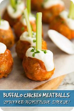 These Buffalo Chicken Meatballs are glazed in a homemade buffalo sauce, stuffed with blue cheese and served with sour cream, chives and celery. What's not to love!? #chickenmeatballs #buffalochicken #buffalosauce #bluecheese | www.dontgobaconmyheart.co.uk