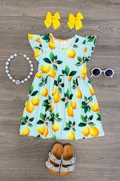 US Girls Dress Toddler Baby Kids Clothing Lemon Striped Summer Dress Little Girl Outfits, Toddler Girl Outfits, Little Girl Dresses, Toddler Dress, Kids Outfits, Girls Dresses, Cute Outfits, Baby Girl Fashion, Toddler Fashion