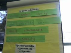 Common core math verbs.. your students should be doing all of these while solving problems! I'm especially going to focus on precision this year.. especially using specific vocabulary when discussing numbers in class!