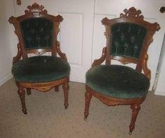 $187 each.....Pair Victorian Eastlake walnut pull-up parlor chairs, green velvet. (01/13/2013)