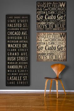 Text Quote City Sign  MADE to ORDER - Custom Vintage Style Bus Scroll CANVAS Wall Art -   14x42x1.5 inches. $210.00, via Etsy.