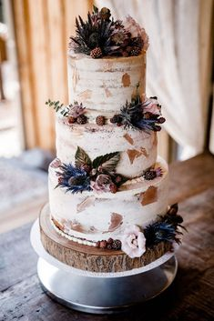 Naked Wedding Cake, 2 Tier Wedding Cakes, Small Wedding Cakes, Wedding Sweets, Wedding Cake Rustic, Wedding Cakes With Cupcakes, Wedding Cakes With Flowers, Beautiful Wedding Cakes, Wedding Foods