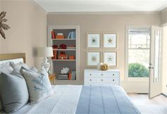 Look at the paint color combination I created with Benjamin Moore. Via @benjamin_moore. Wall: Pashmina AF-100; Trim: Wind's Breath OC-24; Bookcase Back Wall: Silhouette AF-655; Ceiling: White Heron OC-57.
