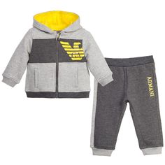 Armani Baby Boys Two Tone Grey Tracksuit at Childrensalon.com