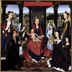 The Virgin and Child with Saints and Donors a Panel from 'The Donne Triptych' by Hans Memling Art Print on Canvas Magnolia Box Size: Extra Larg Eduardo Iv, Framed Art Prints, Painting Prints, Madonna, San Antonio Abad, Hans Memling, Saint Barbara, National Gallery, Watercolor On Wood