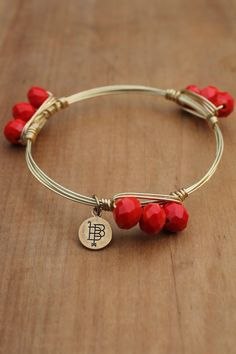 Bourbon and Boweties Bangle: Triple Red Faceted Stone - Off the Racks Boutique