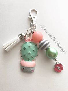 Chunky Bead Necklaces, Chunky Beads, Beaded Earrings, Beaded Jewelry, Handmade Jewelry, Backpack Decoration, Key Chains, Tassels, Cactus