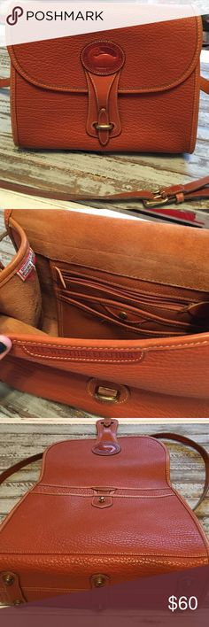 🍾FINAL🍾Vintage Dooney & Bourke   Camel Crossbody Authentic Dooney & Bourke - all weather leather - shoulder or crossbody bag. Flap closure with pockets inside as well as the back. Real brass hardware. Pre-loved, but still in amazing condition. Minors scuffing to outside & some light pen marks on inside, not bad at all, especially for the age!! Dooney & Bourke made in the USA tag on side with serial number on reverse. Absolutely gorgeous purse with a lot of character! Dimensions: Length…