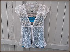 Women's Upcycled Tank Top Shabby Chic Lace Shirt Repurposed Clothing Eco Fashion For Ladies Size Small