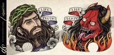 Jesus and devil Chest Tattoo Design by Sam-Phillips-NZ