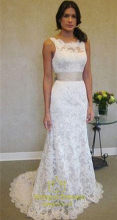 White Sleeveless Open Back Lace Mermaid Wedding Dress With Train