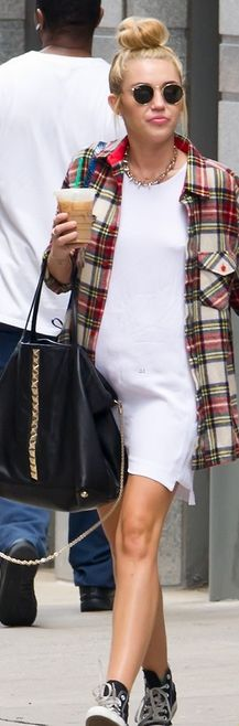 1db98667cb50f4 Loves how miley mixes it up with designer Valentino bag - check shirt -   amp