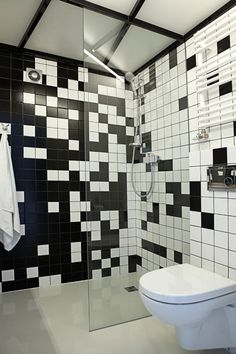 pixelated, tiled black and white bathroom