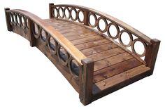 SamsGazebos 8-foot Rose Garden Wood Bridge with Ring Railings, Brown, Treated