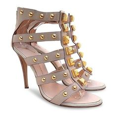 New $861 Giuseppe Zanotti Large Studded Gladiator Heel Sandals -nude -... (6.789.810 IDR) ❤ liked on Polyvore featuring shoes, sandals, studded gladiator sandals, nude heel sandals, gladiator heel sandals, studded sandals and studded shoes