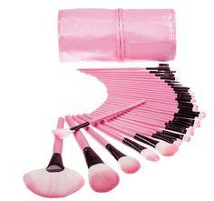 Fashionable woman makeup brush set