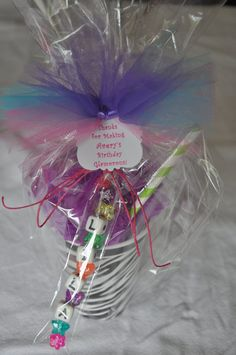 Girls Spa Party Favor Bath Puff Zebra Smoothie filled with goodies and a  Make Your Own Keychain - Set of 4