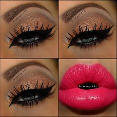 Neutral Smokey eyes with Hot Pink Lip @theamazingworldofj
