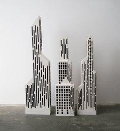Pappmaché Dekoobjekt die Stadt the city recycled handmade