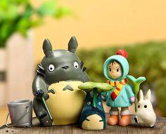 Fairy garden Miniature Set of 5 Totoro Fishing with by RukawaBeads