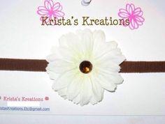 #S10: Mini White Gerbera; Brown Rhinestone; Brown Headband https://www.facebook.com/KristasKreationsEtc