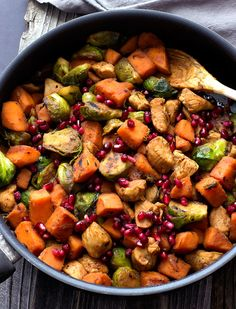 Pomegranate Chicken with Sweet Potatoes and Brussels Sprouts